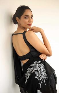 Sobhita Dhulipala in Backless Black Choli and Printed Black Saree