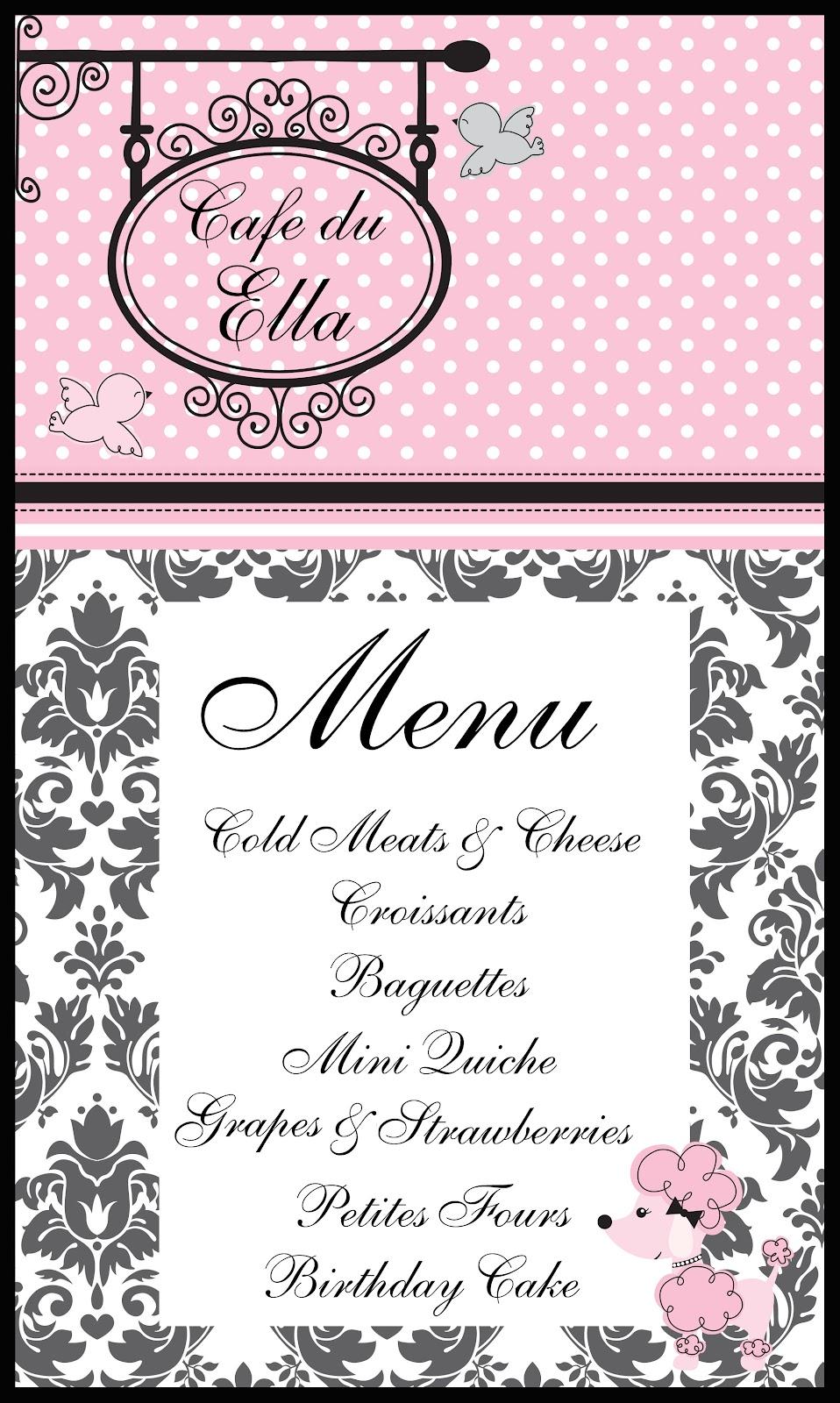 Pink Poodle Restaurant Menu