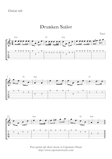 Drunken Sailor, guitar tab