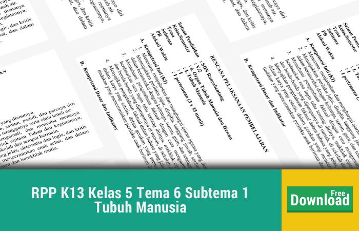 RPP K13 Kelas 5 Tema 6 Subtema 1 Tubuh Manusia