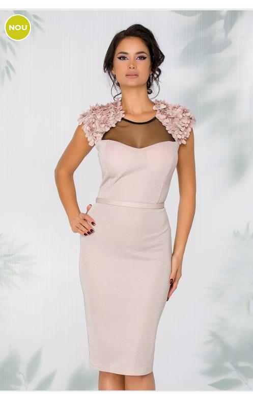 Rochie roz de ocazie Cu aplicatie florala 3D Fara maneci