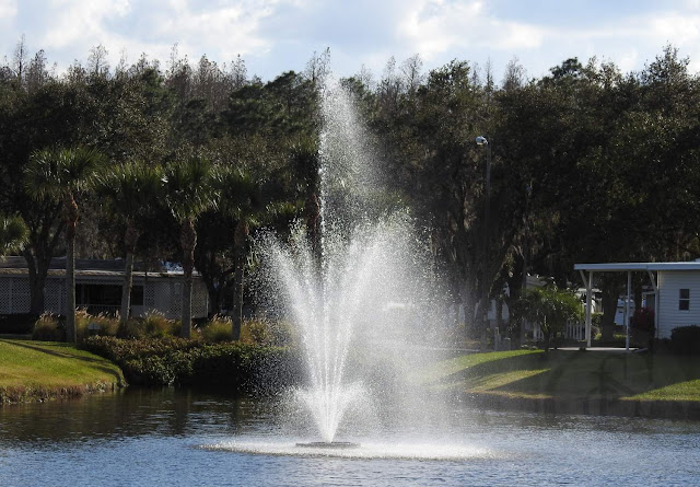 Cypress Lakes 55+ Community in Florida has an entrance pond with a spray fountain.