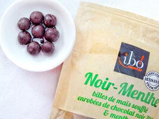 Billes de maïs soufflé enrobées de chocolat noir 70% & menthe - Ibo