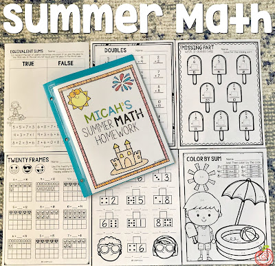 Summer math homework for first grade and second grade