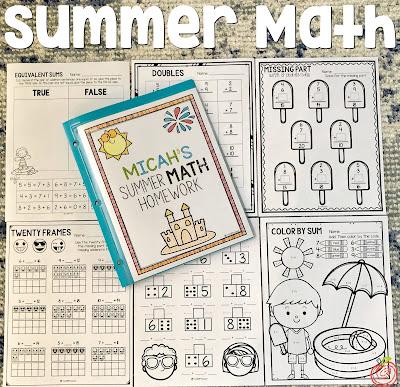 Summer math homework for first grade and second grade