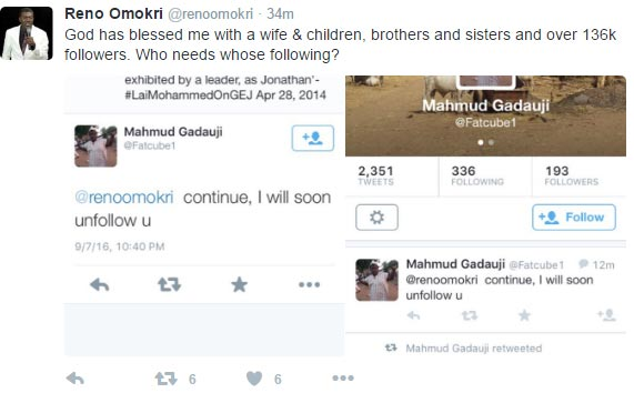 Lol. See how Reno Omokri reacted to users threatning to unfollow his acc