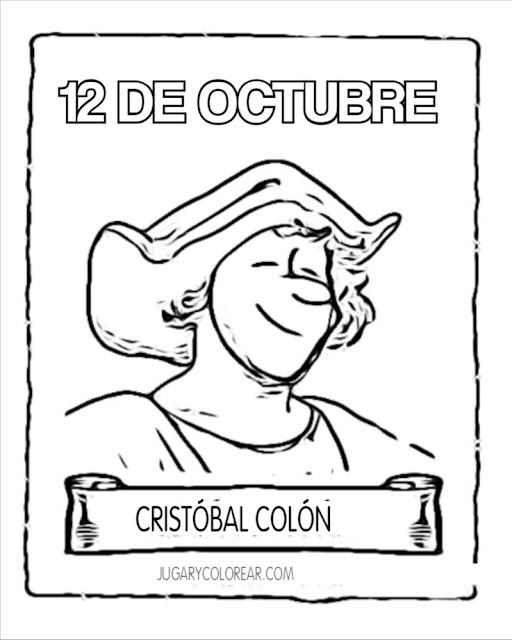 colorear Cristóbal Colón descubrimiento América