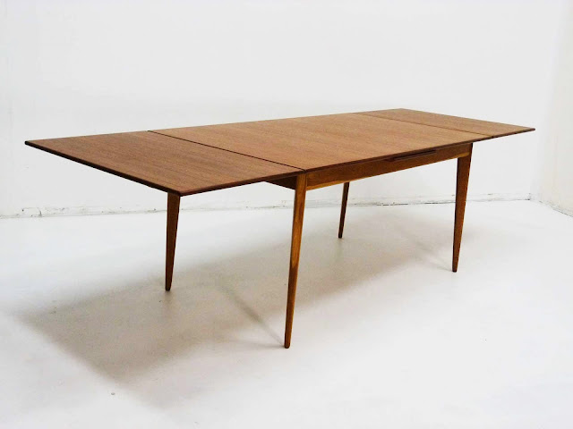 J.O. Carlsson Swedish Teak Draw-Leaf Dining Table Front Angle