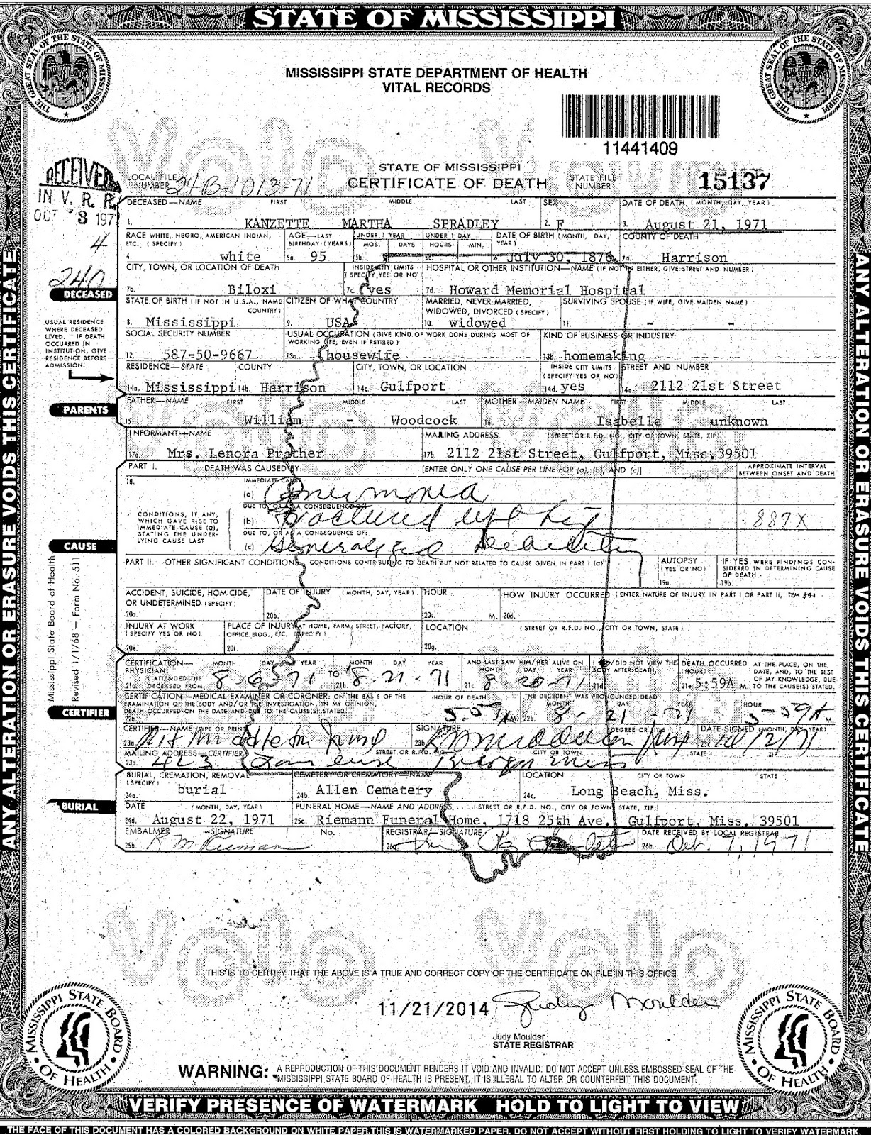 Spradley genealogy august 21 1971 death of kanzette martha spradley in biloxi harrison county ms xflitez Images