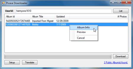 Tải trọn album hình từ Picasa với Picasa Downloader
