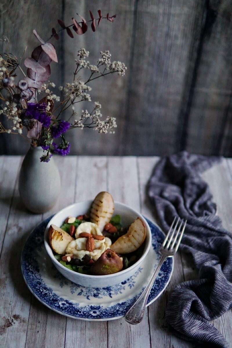 vuohenjuusto, vuohenjuustosalaatti, päärynäsalaatti