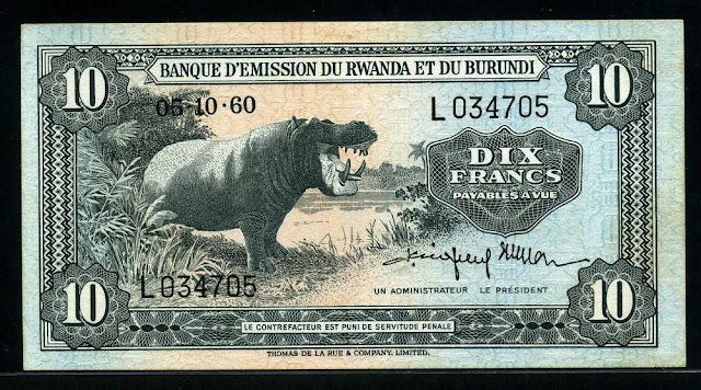 Currency of Rwanda-Burundi banknotes 10 Francs banknote Hippopotamus