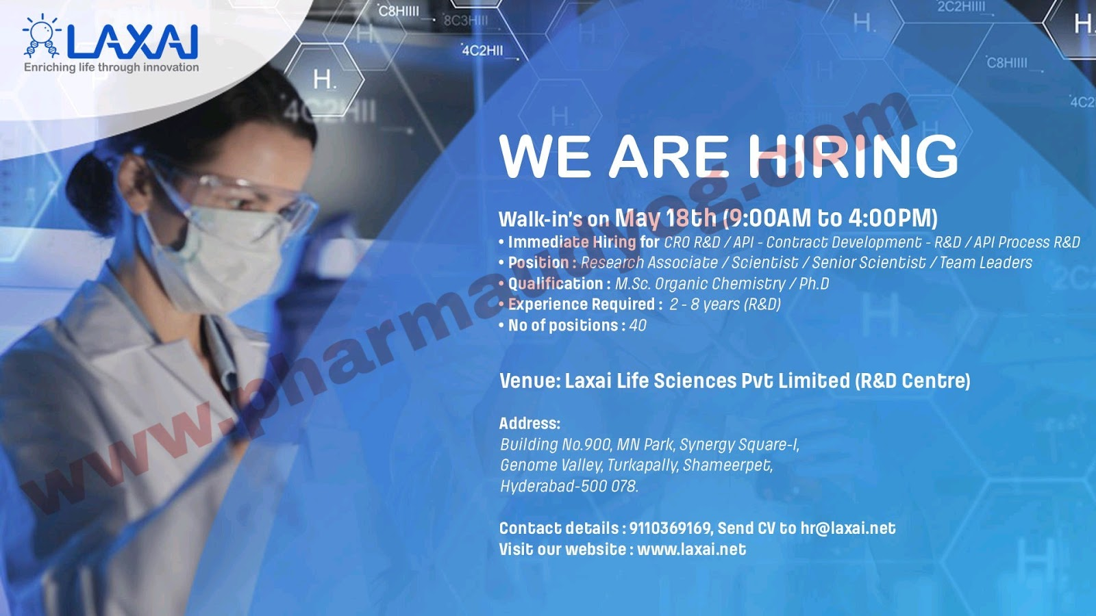 Walk-in Interview For R&D Department