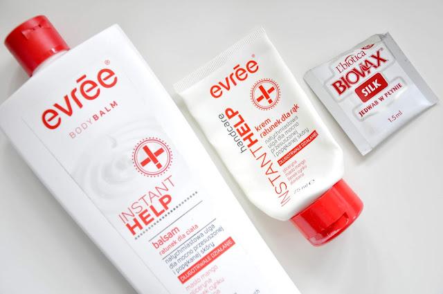 balsam do ciała i krem do rąk evree instant help, jedwab do włosów l'biotica biovax silk