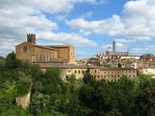 Basilica of San Domenico, with the Siena Cathedral in background, seen from Viale XXV Aprile, Siena
