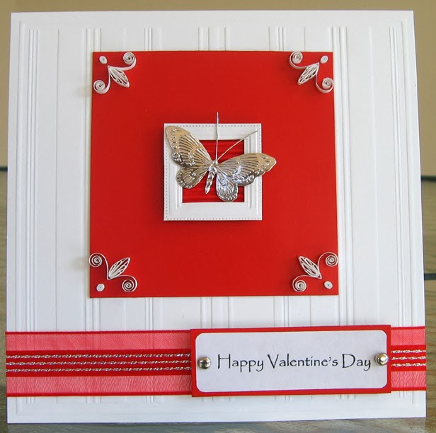 Handmade Valentine with Butterfly and Quilling