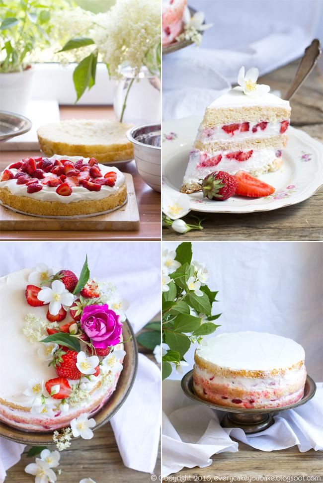 tort truskawkowy z syropem z kwiatów czarnego bzu i kremem