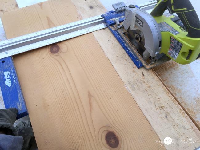 kreg rip cut  to make a hanging storage shelf