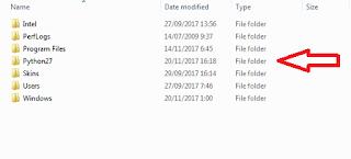 Folder instalasi Phyton 27