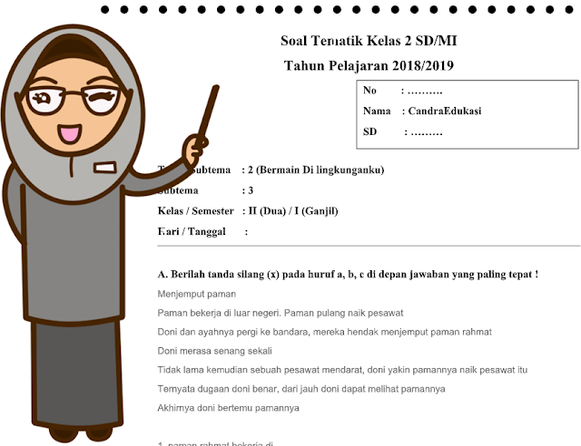Soal Tematik Kelas 2 Tema 2 Subtema 3 Kurikulum 2013