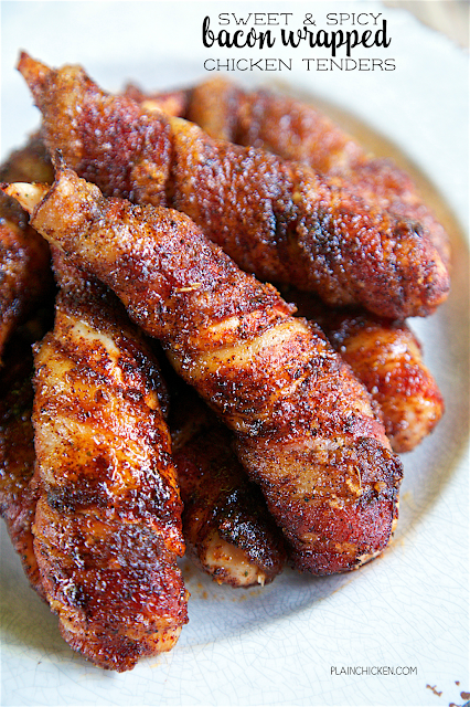 Sweet & Spicy Bacon Wrapped Chicken Tenders - one of the best things we ate last week. Only 4 simple ingredients - chicken, bacon, brown sugar and chili powder. They only take about 5 minutes to make and are ready to eat in under 30 minutes. Sweet and salty in one bite!