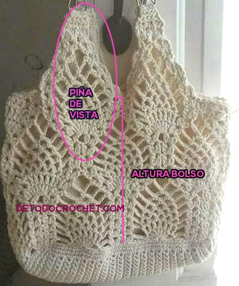 Bolso con punto piñas tejido al crochet / Patrones | Todo crochet