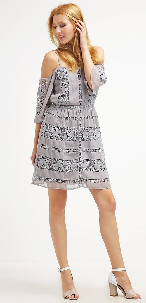 Robe courte d'été grise Miss Selfridge
