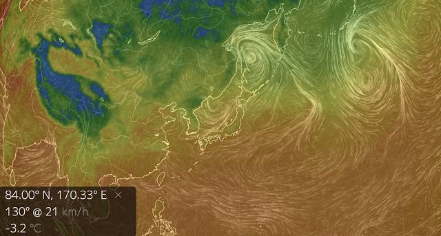 風の流れが視覚的に見れるサイト「earth:」が面白い【n】 地球の風をビジュアル化  気温