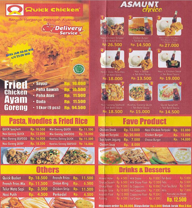 Daftar Harga Menu Quick Chicken