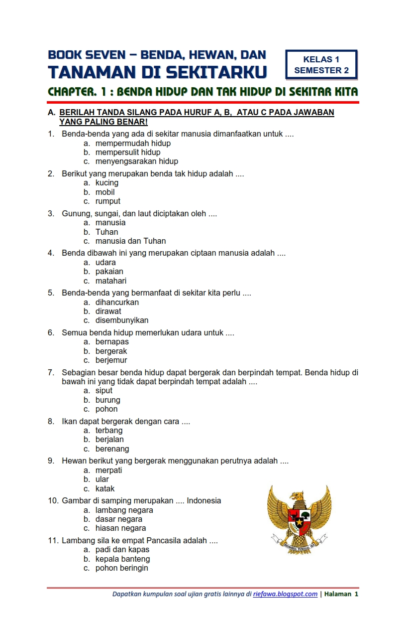 Buku pjok kelas 2 sd/mi ini ditulis oleh suwandi, fendi fengky bamar oktanto, dan masturi dengan … Download Soal Tematik Kelas 1 Semester 2 Tema 7 Subtema 1