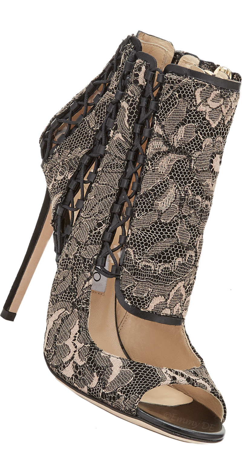 Brilliant Luxury ♦ Jimmy Choo Kia Cutout Lace Peep Toe Bootie