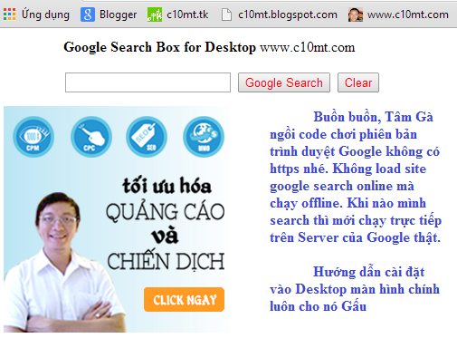 Google Search Box Desktop with Code HTML Tâm Gà