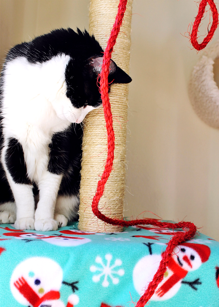 Deck The Cat Tree with this simple and fun tutorial! #RollAwayLint AD