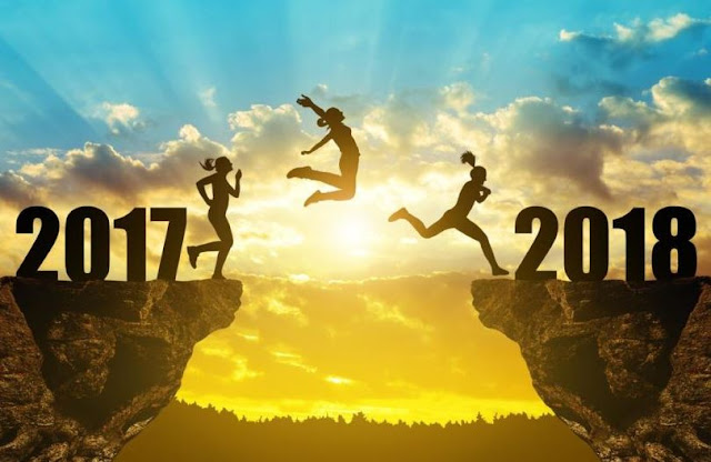 Welcome Happy New Year 2018 Jumping From Goodbye 2017 Image