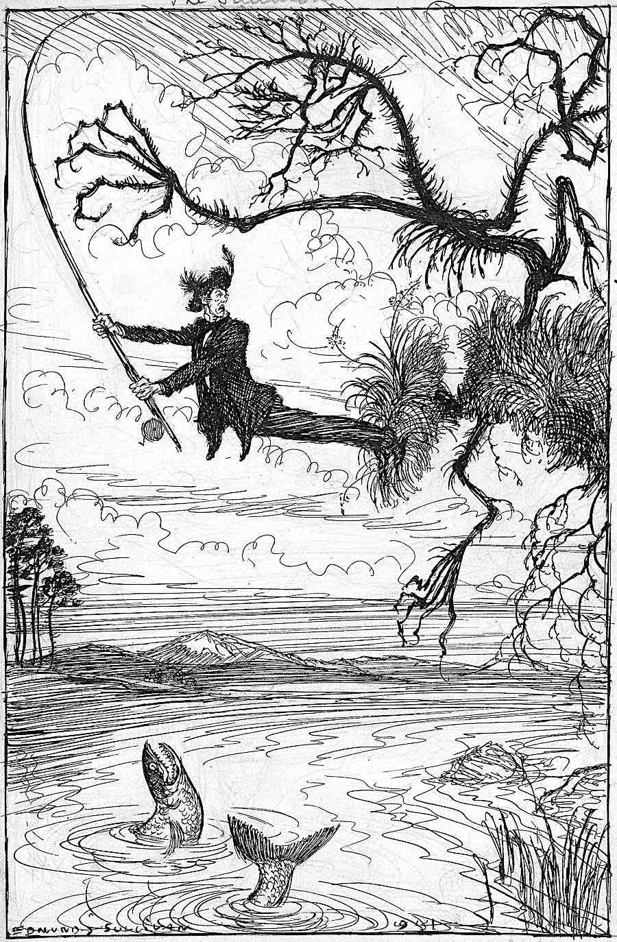 an Edmund Joseph Sullivan drawing of a sport fisher's problems