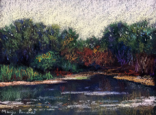 Soft pastel painting of a scene from Lokhandwala wetlands by Manju Panchal