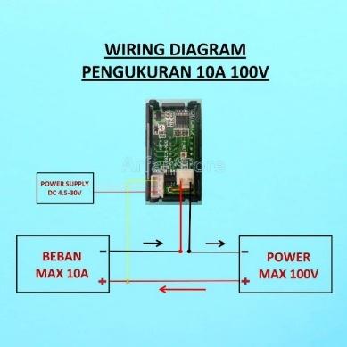 Gambar 2 15 Pemasangan Alat ukur dengan Power Suplai Terpisah (sumber : https://www.tokopedia.com/arfanstore/dual-volt-amp-meter-digital-ampere-meter-voltmeter-10a-0-100v-ammeter)