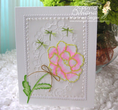 white peony inlay technique card