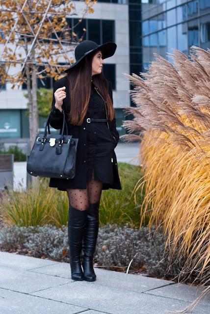 Czarna Koszulo sukienka