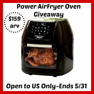 Enter the Power AirFryer Oven Giveaway. Ends 5/31