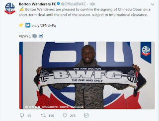 Breaking News : Nigerian footballer Chinedu Obasi joins Bolton Wanderers