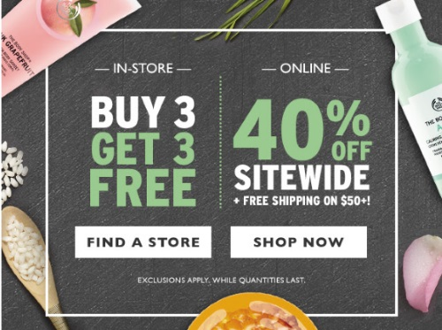 The Body Shop 40% Off Sitewide + Buy 3 Get 3 Free