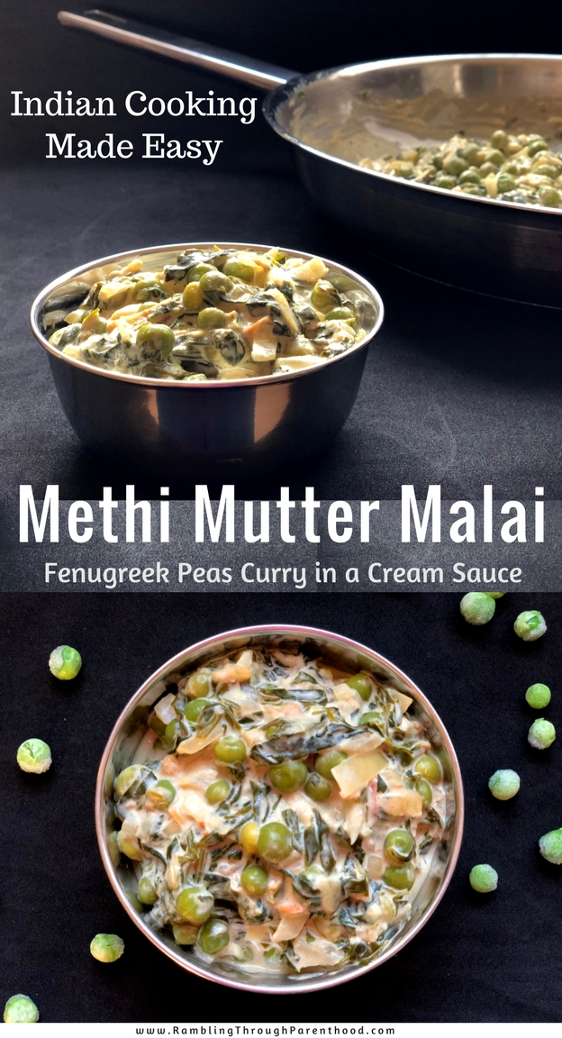 Indian cooking made easy! Methi Mutter Malai - a vegetarain Indian curry recipe that combines the fragrant bitterness of fenugreek (methi) leaves with the sweetness of green peas (mutter) and serves them up in a rich, creamy (malai) explosion of green and white.