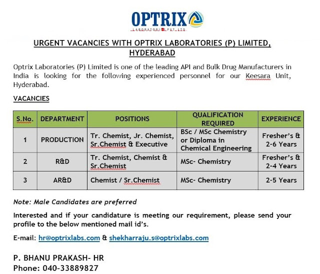 OPTRIX LABORATORIES  Urgent Vacancies for Fresher's & Experienced Candidates