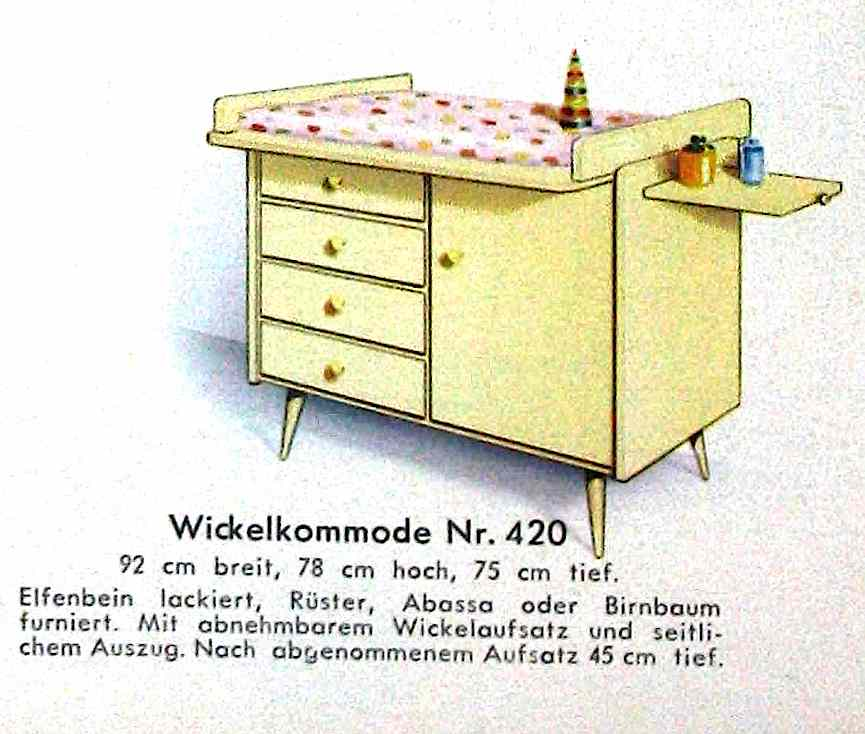 a 1960 baby-changing table from a German catalog