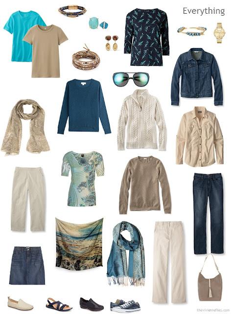 travel capsule wardrobe in denim, khaki, teal and camel