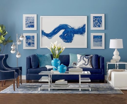 Blue and White Modern Coastal Living Room Decor Idea
