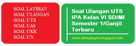 Soal Ulangan UTS IPA Kelas 6 SD/MI Semester 1 Kur KTSP