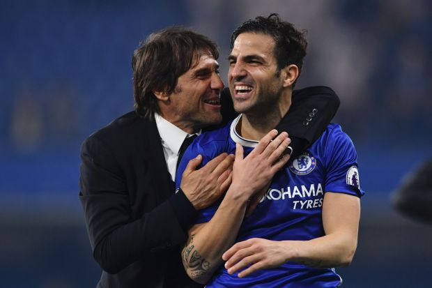 Cesc Fabregas and Antonio Conte