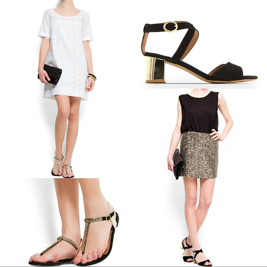 24b9441861ea8 El mix dorado y negro siempre es elegante y con ese tipo de sandalias que  dejan el pie tan desnudo
